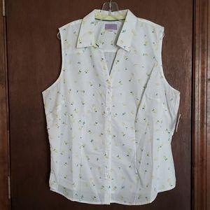 Sleeveless Button-down Shirt w/lemon pattern